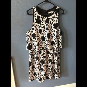 Loft black, tan, and white dress.